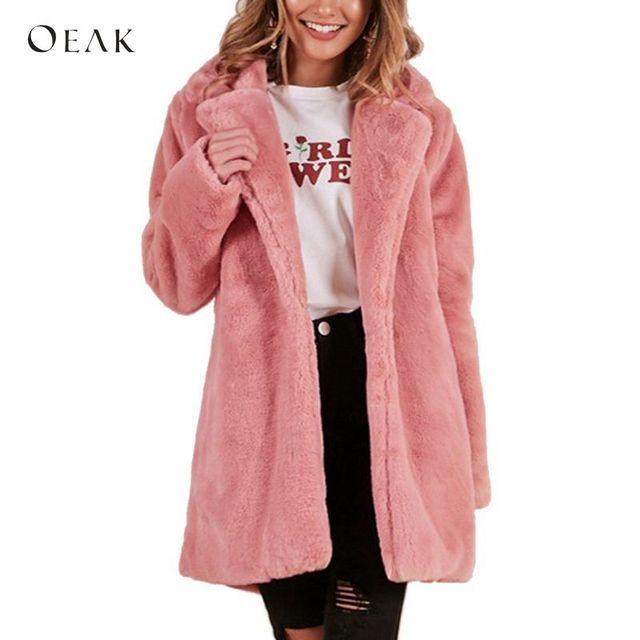 OEAK 2018 Women Faux Fur Long Coat Winter Warm Fluffy Cardigan Jacket Female Casual Soft Plush Teddy Coat Plus Size Pink Outwear