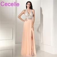 2018 New Long Sexy Formal Evening Dress Chiffon Skirt With Slit Sheer Illusion Lace Top Open Back Teens Evening Party Gowns