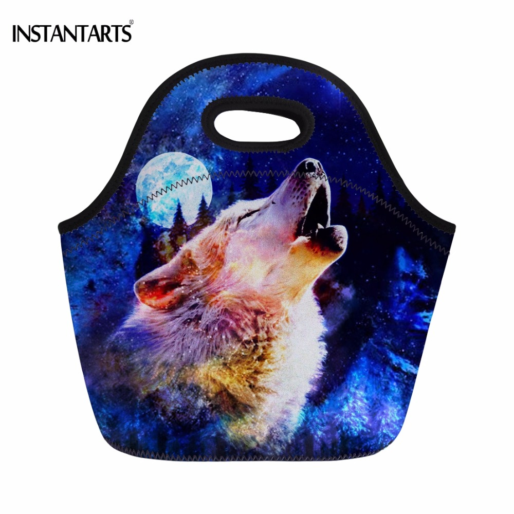 INSTANTARTS Cool 3D Moon Wolf Printing Women Men Work Lunch Bags Fashion Portable Meal Bags for Teens Students Thermal Lunchbag ...
