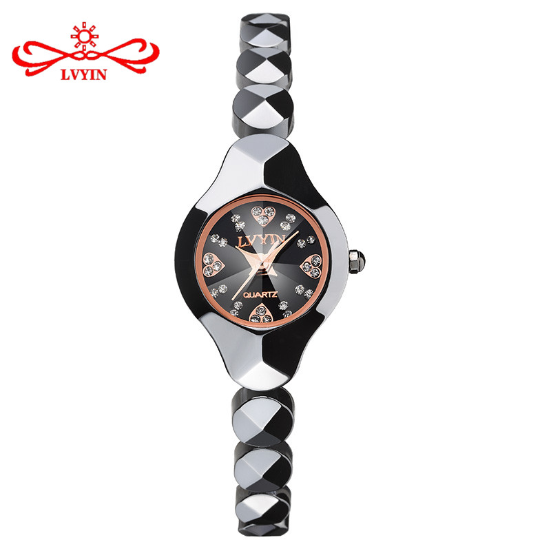 LVYIN Women Ceramic Quartz Watches Heart Crystal Cute Simple Wristwatch Gold Small Watch Band Business Relogio LY015