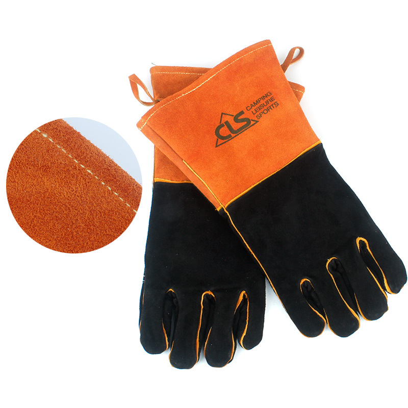 Image 2 - BBQ Gloves Camping Fire Barbecue Leather High Temperature Protective Gloves For Camping Picnic Barbecue Equipment-in Outdoor Tools from Sports & Entertainment