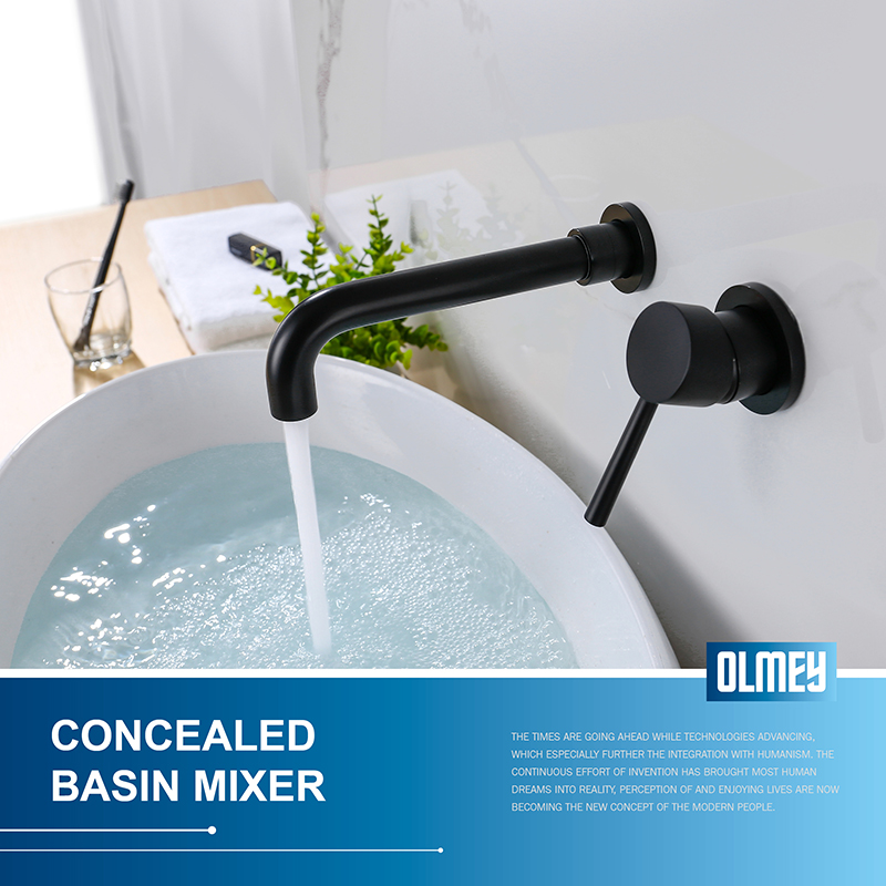 OLMEY Matte Black Waterfall Bathroom Basin Faucet, Wall Mounted Single Lever Concealed Bathroom Mixer Tap with swivel spout