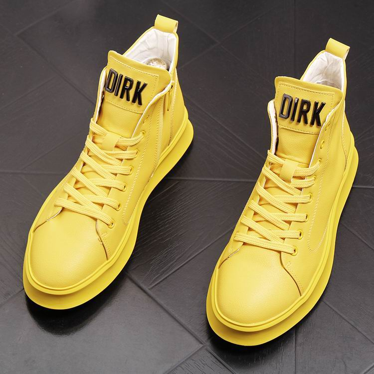 ERRFC New Arrival Luxury Mens Yellow Casual Comfort Shoes High Top Lace Up Man White Trending