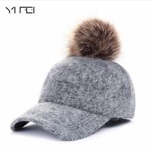 купить Autumn Winter Fashion Polyester Fur Pom Pom Hats Hip Hop Felt Cap Women Thick Warm Bone Snapback Hat Female по цене 378.14 рублей