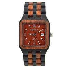 BEWELL Wood Men's Watches Square Dial Clendar Display Waterproof Male Wristwatch Relogio Masculino with Box ZS-111A