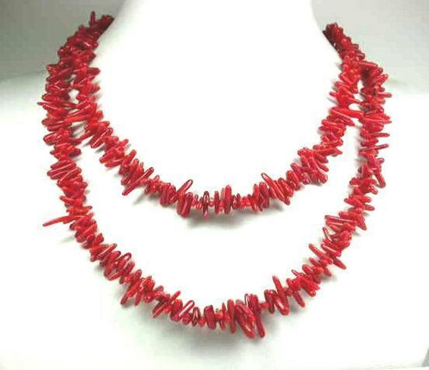 Free shipping Jew2915 long 30'inch Asia Natural red branch coral Necklace