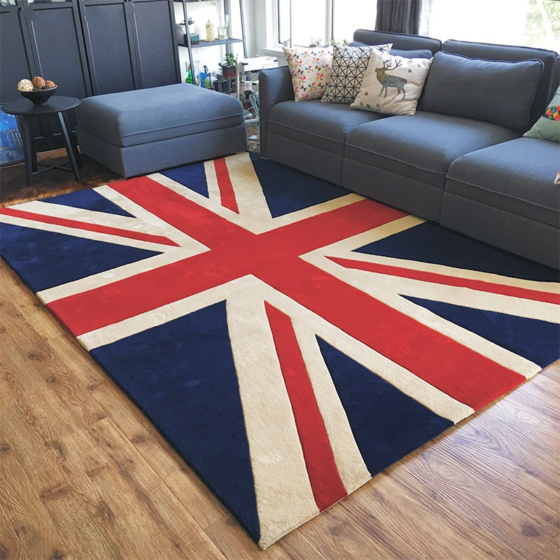 The British Union Jack pattern decoration living room carpet, big size Nordic style machine weaved bedside rug, villa floor matThe British Union Jack pattern decoration living room carpet, big size Nordic style machine weaved bedside rug, villa floor mat