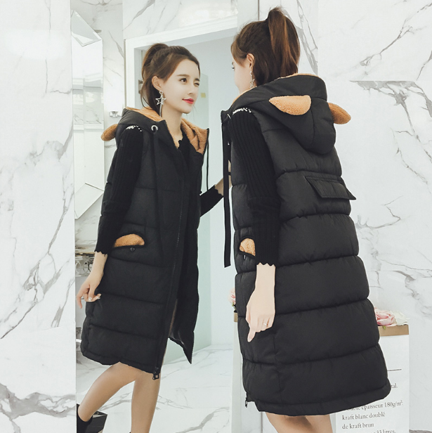 Women Coat Jacket Medium Length Woman Parka With Horn Winter Thick Coat Women 2017 New Winter Collection Hot Vests Black pinky is black winter jacket women 2017 five colors hooded coat woman clothes winter jacket with pockets lady top coat hot