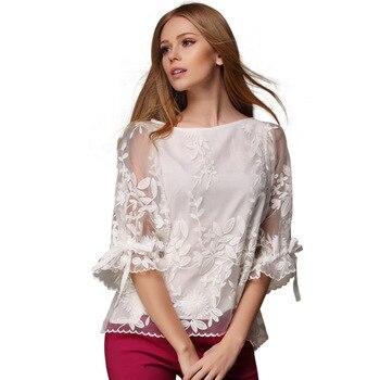 New 2018 Summer Women Fashion White Mesh Lace Chiffon Blouses Plus Size O -Neck Flare Sleeve Shirt 12g 30