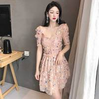 Women Pink Sequins Lace Short Party Dress Polka Dots Studded Dress Pretty Beautiful Elegant Mini Dress Flared Bodycon Summer