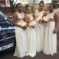 Gold Sequin Bridesmaid dress O-Neck A Line Chiffon Gold White Girl Party Gowns 2016 vestido de festa de casamento