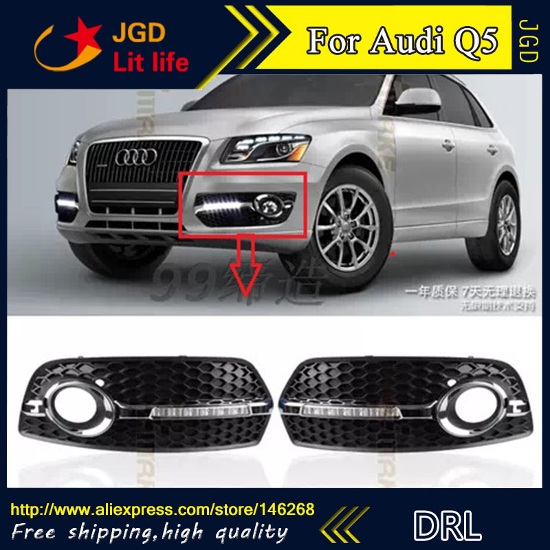 Free shipping ! 12V 6000k LED DRL Daytime running light for Audi Q5 2010-2012 fog lamp frame Fog light Car styling free shipping 2pcs lot car styling lamp 7443 80w daytime running light with daytime running light for dacia duster hs 2010