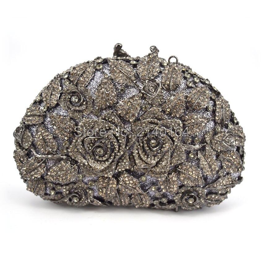 De las mujeres de La Boda Embragues Bolso Rose Flower Crystal Bolsos de embrague