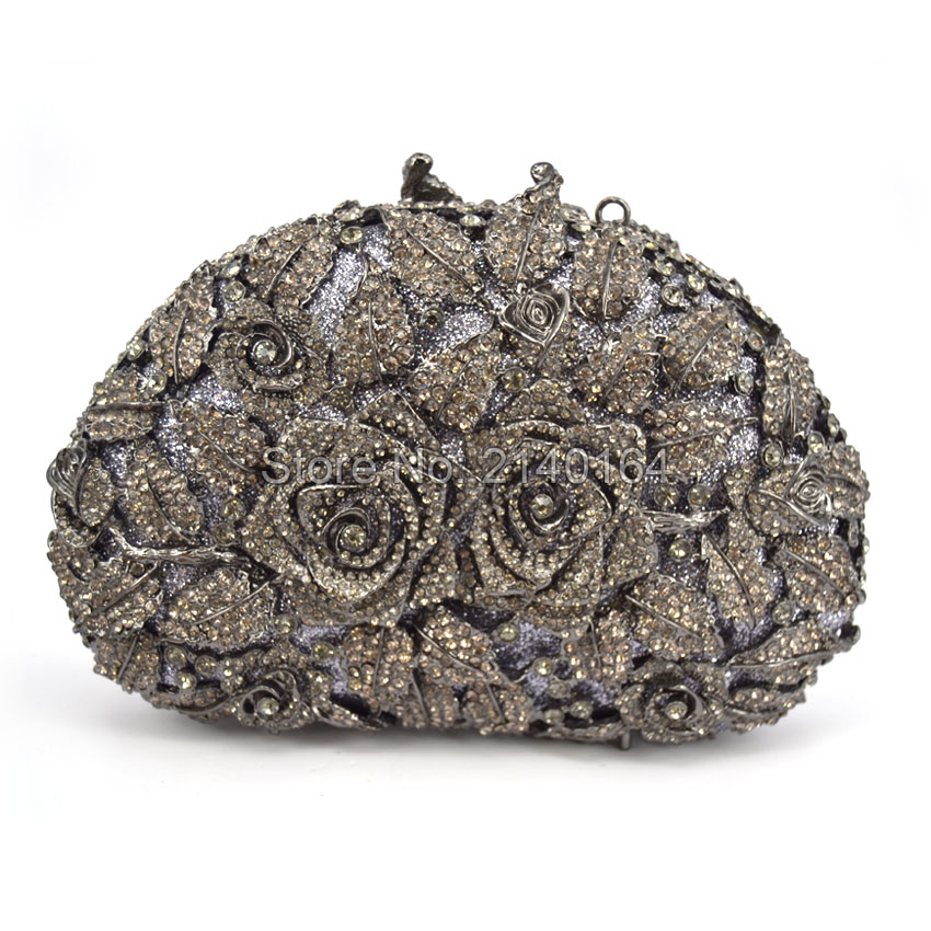 Fashion Grey Diamond Women Wedding Clutches Bag Rose Flower Crystal Evening Bags Party black clutch Purses (88303-H) 2017 luxury flower evening bag handmade diamond clutch bags women crystal butterfly handbags party velvet clutches purses jxy784