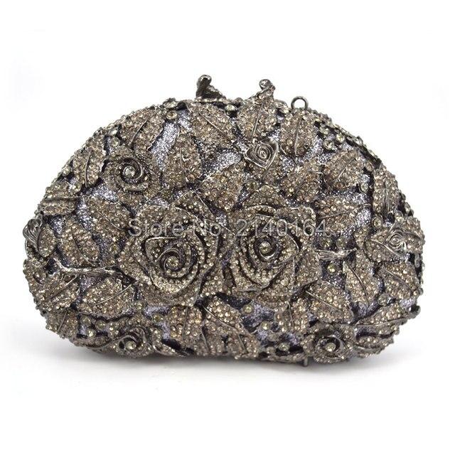 2bdf77aa56 Fashion Grey Diamond Women Wedding Clutches Bag Rose Flower Crystal Evening  Bags Party black clutch Purses (88303-H)