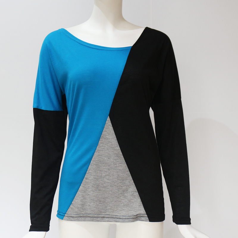 Rogi 2019 Long Sleeve T Shirt Women Casual Loose Tops Tee Shirt Femme Patchwork Sexy V