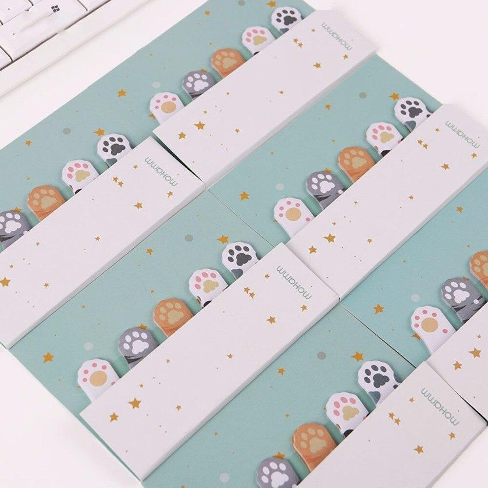 2018 3PCS DIY Mini Cute Kawaii Cartoon 5 Colors Animal Memo Pad Cat Paw Post It Notes Paper Stickers Korean Stationery