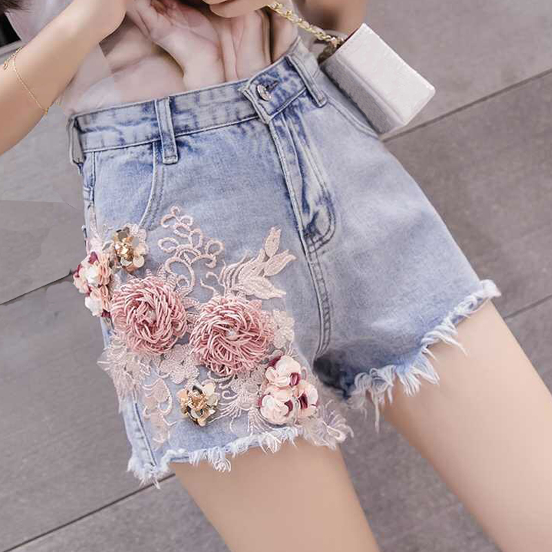 Summer Fashion Womens Lady High Waist Embroidery Flower Beading Tassel Blue Denim Shorts , Female Korea Ripped Xxl Jeans Shorts