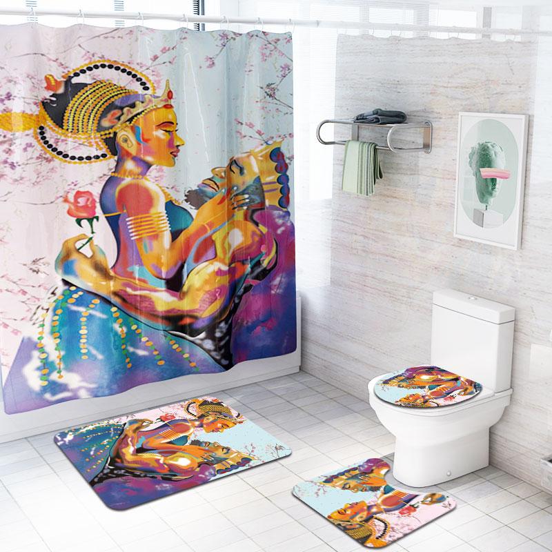 African Women Bathroom Rug Set Shower Curtain Decor Bath Mat Waterproof Curtains