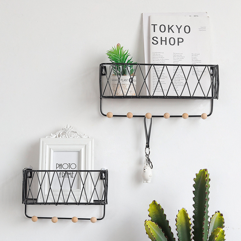 New Hanging Rack Iron Frame Sundries Shelf for Wall Holder Display Storage Box Mesh Wire Metal Room Organizer Flower Wall Stand Полка