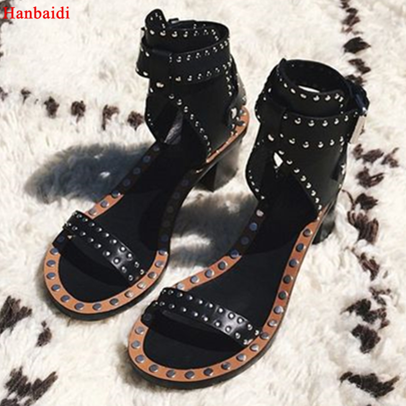 Hanbaidi New Studded Leather Sandals Rivets Combat Ankle Wrap Chunky Heels Open Toe Sexy Summer Shoes Woman Gladiator Sandals 41 choudory summer new gladiator sandals women suede leather rivets flats casual shoes woman open toe short dress boots