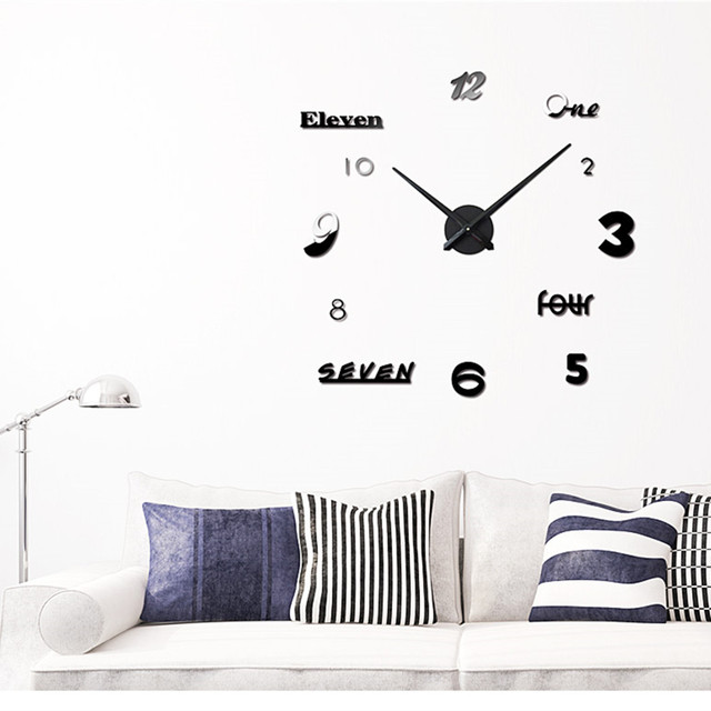 creative diy wall clock set m.sparkling numbers letters sticker diy