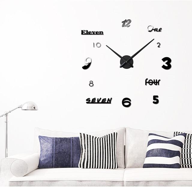 Creative DIY Wall Clock Set M.Sparkling Numbers Letters Sticker DIY Digital Wall  Clock Silver