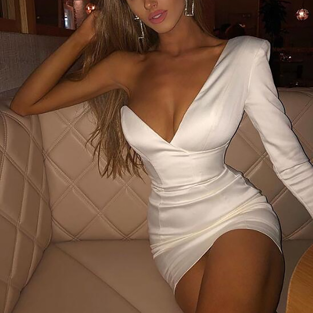 Solid Color V neck Wrapped Chest One Shoulder Package Hip Dress Female Clothing in Dresses from Women 39 s Clothing