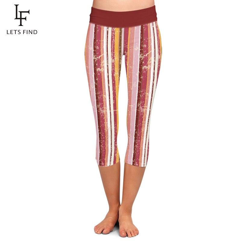 LETSFIND New Women High Waist Capri Leggings Fashion Casual Striped Printing Plus Size Mid-Calf 3/4 Stretch Leggings For Summer