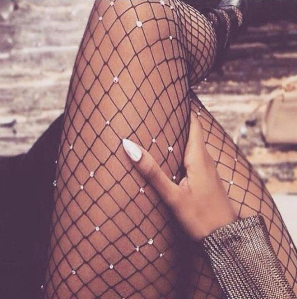 2018 Sexy Sheer Womens Fishnet Dance Tights Mesh Pantyhose Crystal Rhinestone Lady Stockings Shiny Pantyhose Net Collant Hosiery