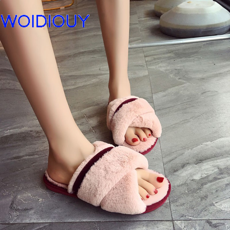 Cross Strap Patchwork Women Slippers Fashion Spring Summer Autumn Plush Slippers Women Faux Fur Slides Flip Flops Flat Shoes все цены