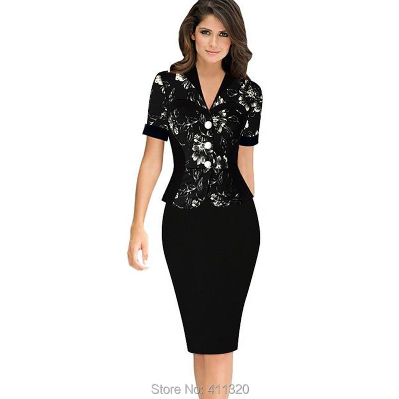 Womens Elegant Business Suits Blazer with Skirt Formal Office Uniform Designs Women Lapel Colorblock Knee Length Pencil Dress (10)