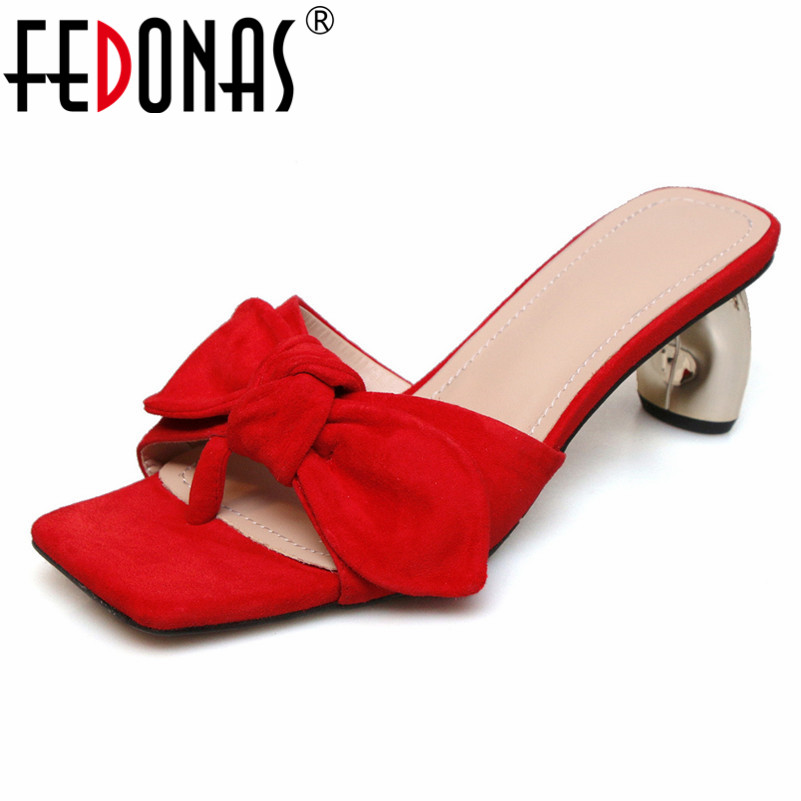 FEDONAS 2019 Summer New Fashion Elegant Rome Square Toe Strange Style Women Sandals Genuine Leather Butterfly Knot High Heels FEDONAS 2019 Summer New Fashion Elegant Rome Square Toe Strange Style Women Sandals Genuine Leather Butterfly Knot High Heels