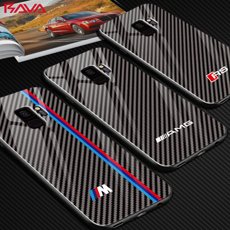 Luxurious Motorsport Racing Sport Rs Carbon Fiber Cowl Case For Samsung Galaxy S8 Plus S9 Plus Notice eight 9 Glass Amg Automobile Telephone Case