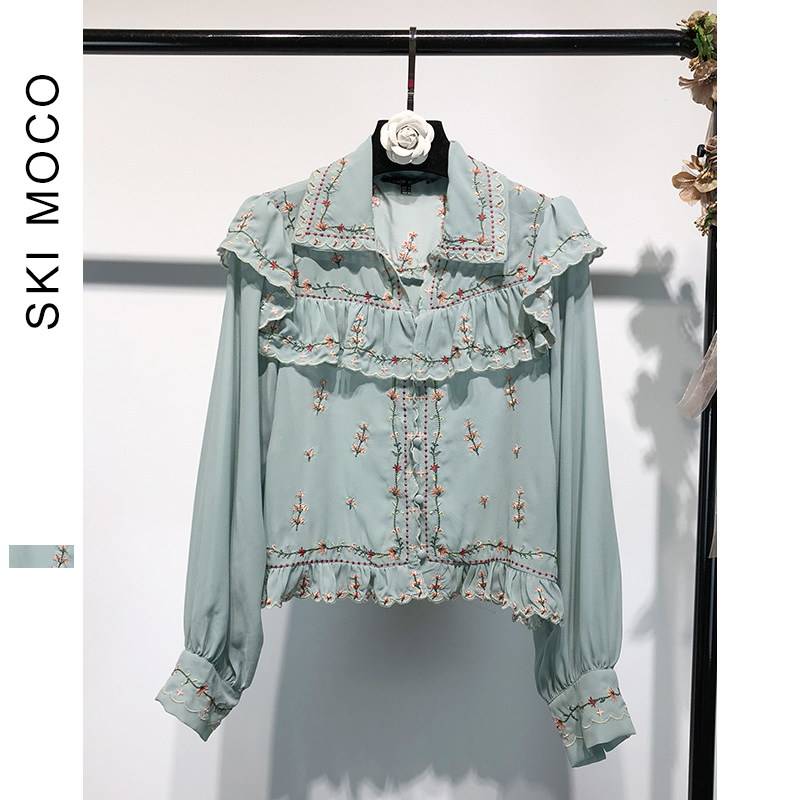 Women Boho Long Sleeve Flounce   Blouse   Cute Flower Embroidery   Blouse     Shirt   Female Blusas Spring Autumn Embroidered Tops