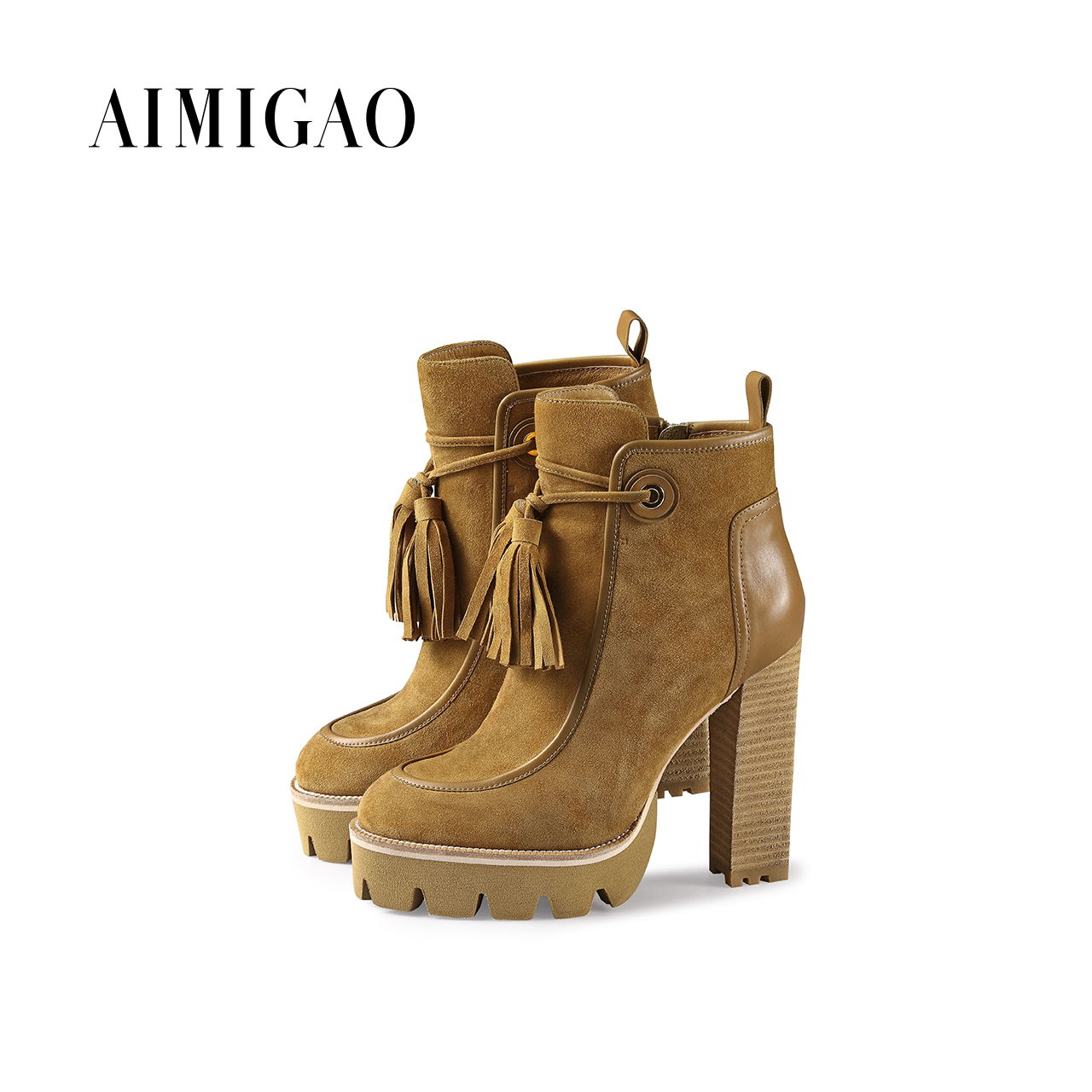 AIMIGAO autumn winter Genuine suede leather ankle boots para mulheres platform fashion thick high heel women boots brown front lace up casual ankle boots autumn vintage brown new booties flat genuine leather suede shoes round toe fall female fashion