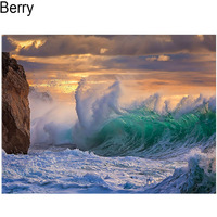 DIY CUSTOM PHOTO 5D DIY Diamond Painting Clouds Of The Storm Waves Rock Sea Sky 3D