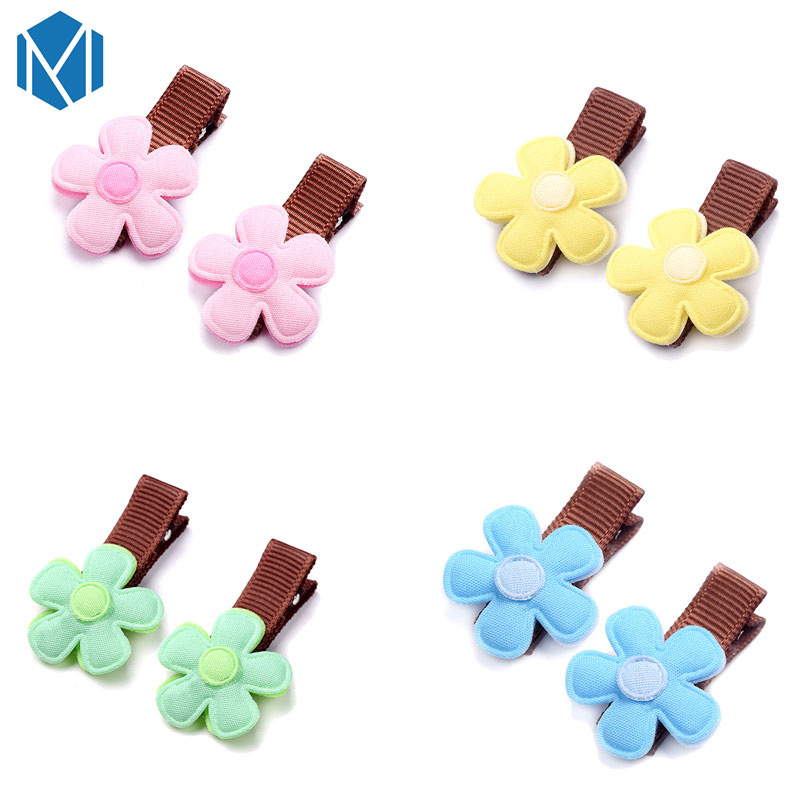 M MISM 2PCS Cute Lovely Flower Hairgrip Cute Hairpins Hair Accessories Ornaments Headdress Hair Clips For Kids Girls m mism classic nonwoven flower for kids hairgrip girls children cute hairpins hair accessories head wear hair clips