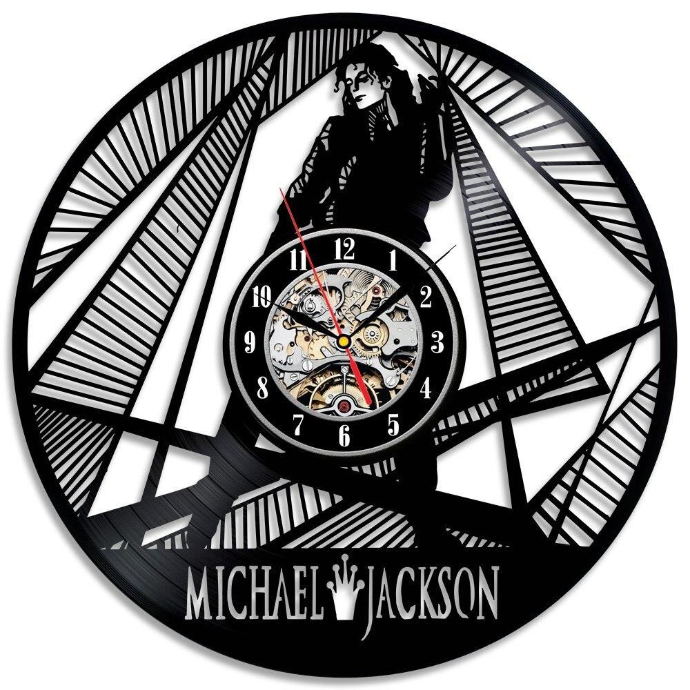 Michael Jackson Mur Horloge Design Moderne Disque Vinyle Horloges Muet Vintage Rétro Style Classique CD Mur Montre Décoration 12 pouce