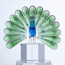 H & D figuras de ave de cristal brillantes y coleccionables, figuritas de animales, adornos en miniatura, escultura de buena suerte para decoración del hogar, regalo de Navidad