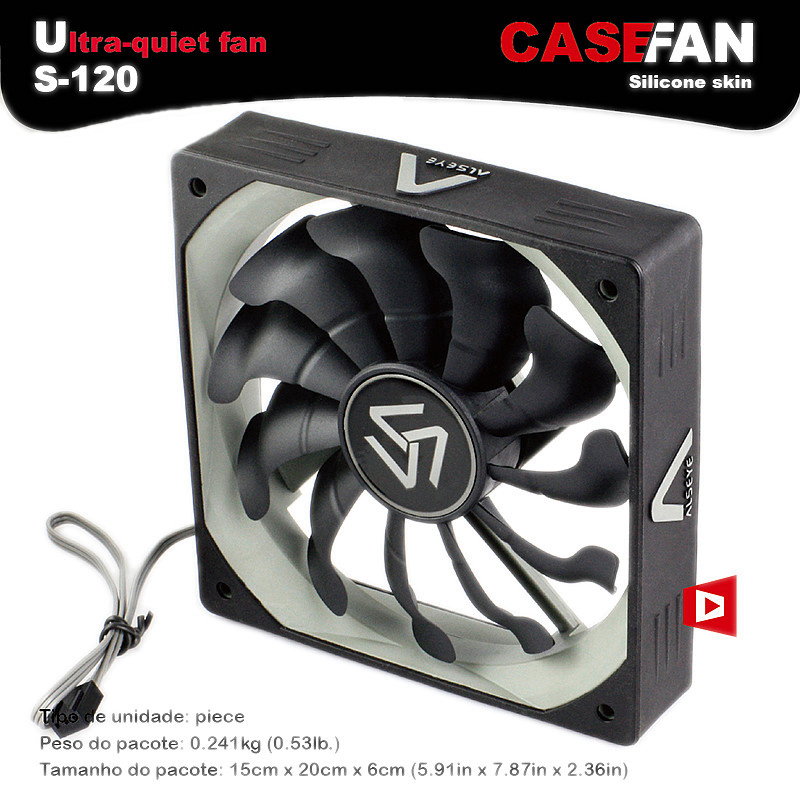 ALSEYE S-120 Computer Cooler Fan 120mm High Air Flow DC 12V 1200RPM 3pin Cooling Fans for PC Case / CPU Cooler / Water Cooling стоимость