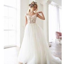 Smileven A Line Wedding Dress 3D Flowers Lace  Bride Cap Sleeve Button Back Floor Length Elegant Bridal Gowns 2019