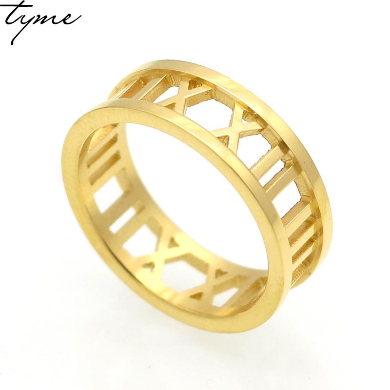 Fashion 316L Titanium steel Hollow Roman Gold color love Ring for woman Wedding Rings Digital Winnings Fashion Female Adornment