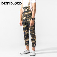 Denyblood Jeans Mens Stretch Chinos Overalls Vintage Washed Army Green Brown Camouflage Bibs Pants Jumpsuit Pants