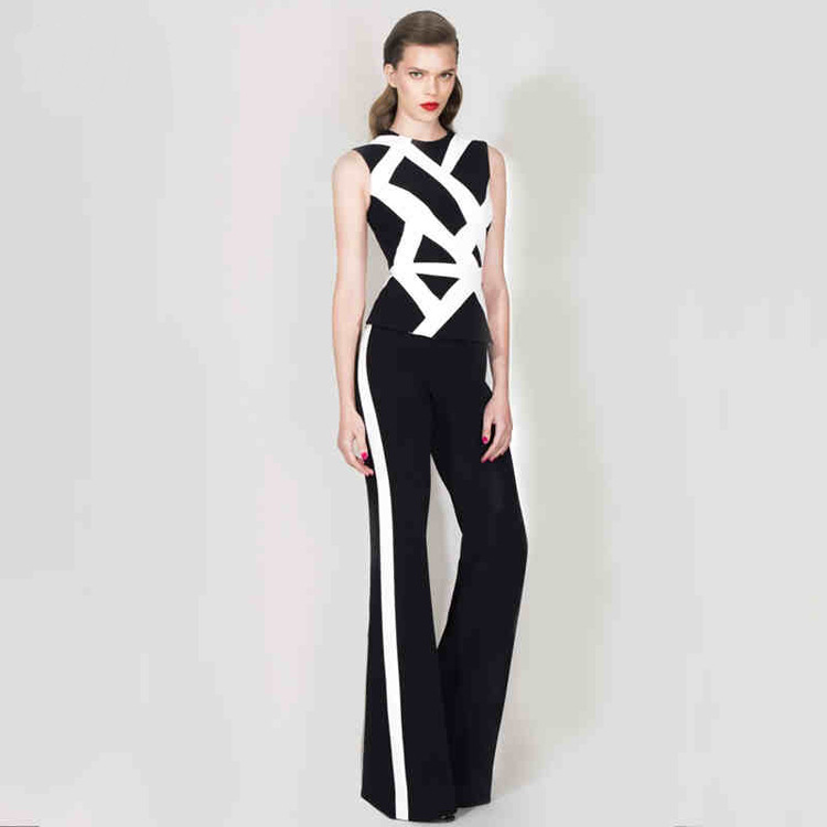 2018 hot sale new fashion  sexy women OL o-neck  suits wide-leg pants pan celebrity body con party wholesale