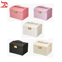 Fashion Luxury PU Three Layer Makeup Case Travel Jewelry Organizer with Lock and Mirror Gift for Jewelry Storage Collection Box