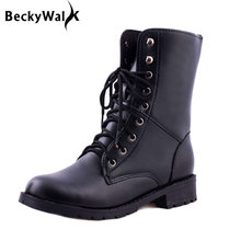 New 2018 winter Lace-Up Fashion ankle boots for women botas femininas black hunter martin boots Plus Size woman shoes EU35-42(China)