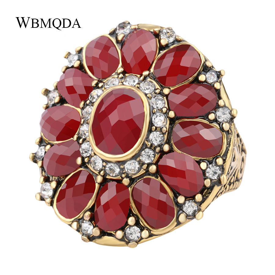 Luxury Vintage Boho Red Crystal Flower Engagement Ring Trendy Fashion Big Gold Wedding Rings For Women Jewelry Accessories