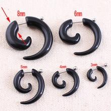1 par de moda feminina nova falsa espiral orelha tapadores caracol expansores de orelha preto 3/4/5/6/8mm corpo jóias plugue da orelha pircing