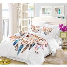 Boho Dreamcatcher Bedding Set Colorful Feather Animal Print Duvet Cover Pillowcase White Comforter Home Textile D20